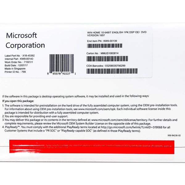 MICROSOFT WINDOWS 10 HOME 64 BIT ENG (OEM) [SKU-KW9-00139]