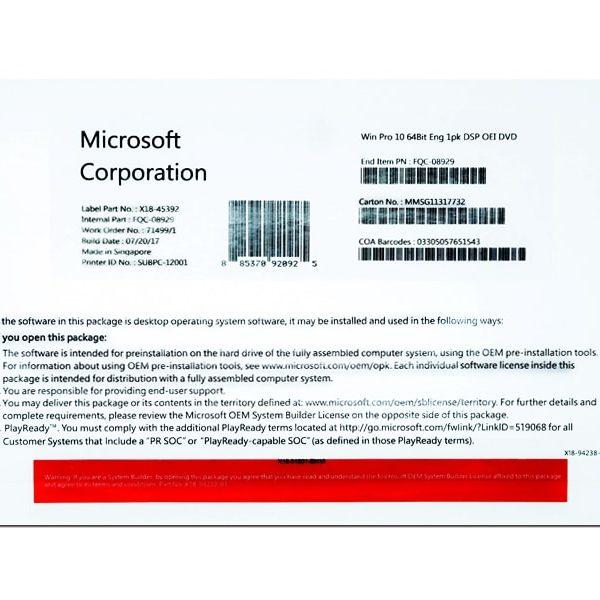 MICROSOFT WINDOWS 10 PROFESSIONAL 64 BIT ENG (OEM) [SKU-FQC-08929]