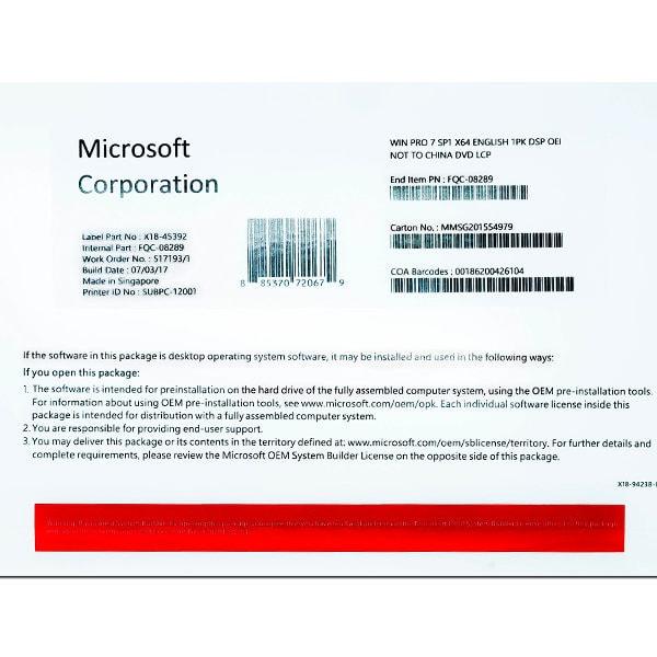 MICROSOFT WINDOWS 7 PROFESSIONAL 64BIT ENG (OEM) [SKU-FQC-08289]