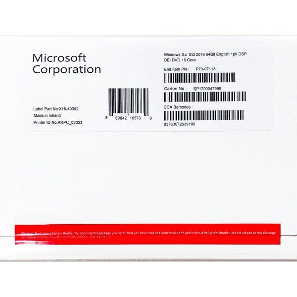 MICROSOFT WINDOWS SERVER STD(Standard) 2016 64Bit English 1pk DSP OEI DVD 16 Core